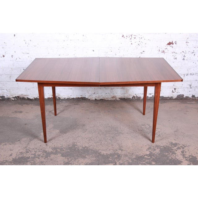 Wood Kipp Stewart for Calvin American Design Foundation Walnut and Rosewood Boat-Shaped Extension Dining Table For Sale - Image 7 of 13