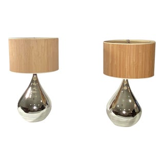 Mercury Glass Lamps With Bamboo Shades - a Pair For Sale