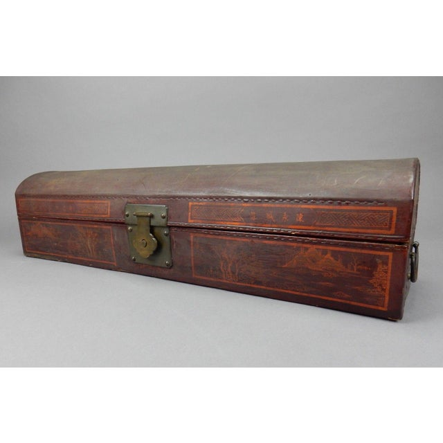 Gold Antique Chinese Pig Skin Scroll Box With Key For Sale - Image 8 of 13