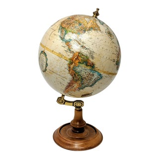 Continental World Globe on Brass and Wood Stand For Sale
