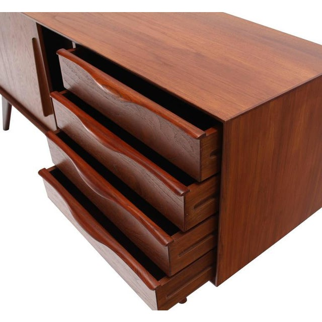 Danish Modern Four Drawers Splayed Legs Teak Sideboard For Sale - Image 6 of 8