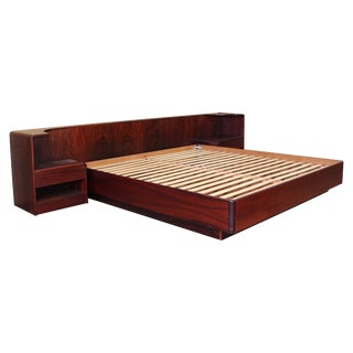 Danish Rosewood King Size Platform Bed For Sale
