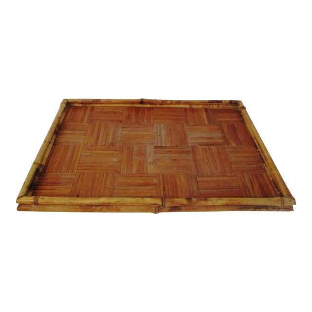Vintage Tortoise Bamboo & Rattan Tray For Sale