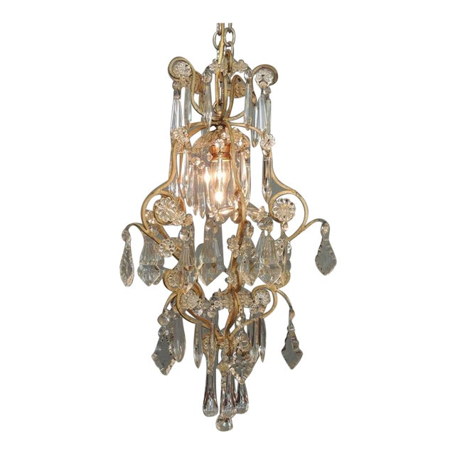 Small Early 20th C French Neoclassical Brass and Crystal Chandelier Lantern For Sale