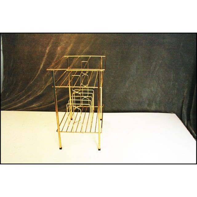 Mid-Century Modern Gold Record Rack - Image 10 of 11