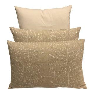 Custom Linen Down Filled Lumbar Pillows - a Pair For Sale