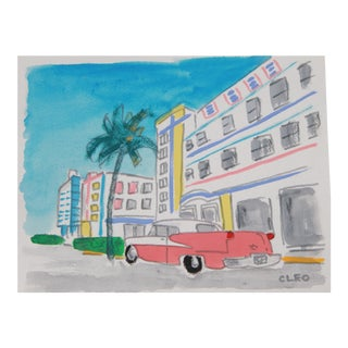 Miami Beach Cityscape Art Deco City Painting by Cleo