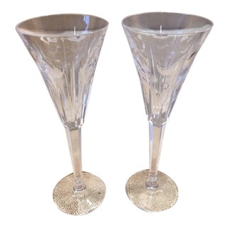 Waterford Crystal Limited Edition Champagne Toasting Glasses With Hearts - a Pair For Sale
