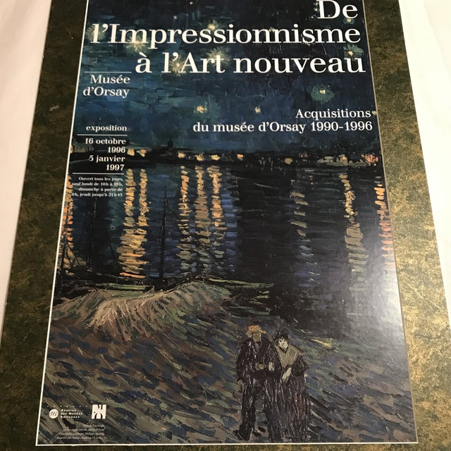 "Original exhibition poster from Musee d'Orsay, Paris dated 1996 with detail of Van Gogh's ""Starry Night Over The Rhone""...."
