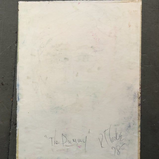 "1970s Original Vintage Robert Cooke Abstract Pastel Drawing ""The Dummy"" For Sale - Image 5 of 6"