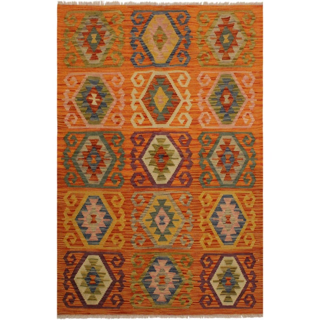 Green Edie Rust/Ivory Hand-Woven Kilim Wool Rug -4'2 X 5'9 For Sale - Image 8 of 8