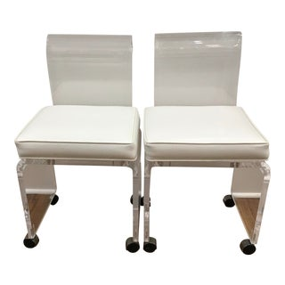 1970's Mid-Century Modern Pair of Lucite Chairs For Sale