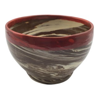Vintage Brown and White Marble Swirl Ceramic Bowl With Red Stripe on Rim Bottom Stamped S G 20 For Sale