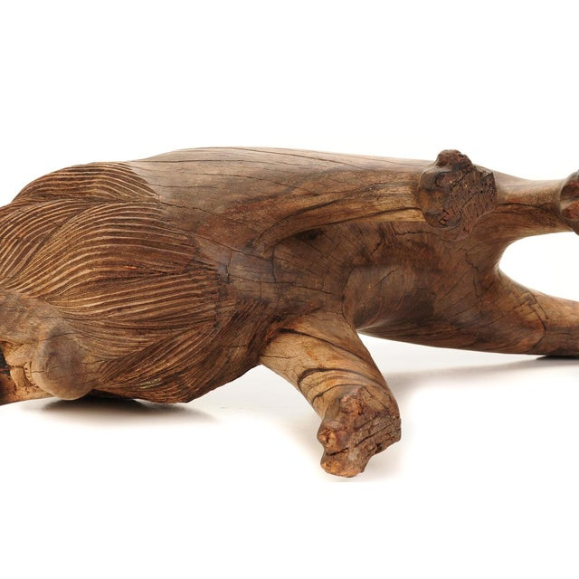 "Roaring Lion Antiques 23"" Carved Wood Sculpture - Image 8 of 9"