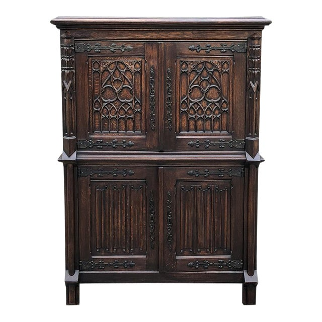 Antique French Gothic Cabinet For Sale
