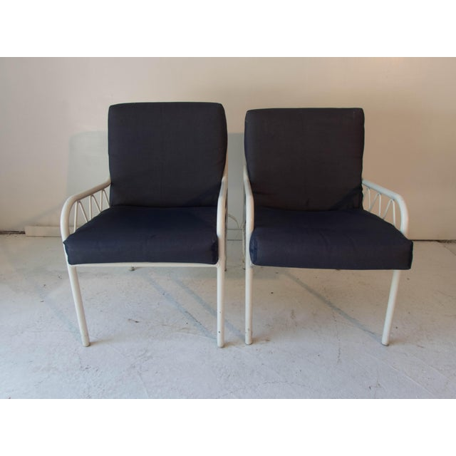 Retro Modern Dining Chair Blue Fabric: Vintage Late-Modern Blue & White Resilient Outdoor Vinyl