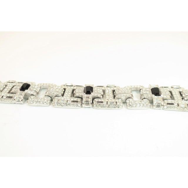 1950s Ciner Art Deco-Style Geometric Link Rhodium Bracelet 1950s For Sale - Image 5 of 13