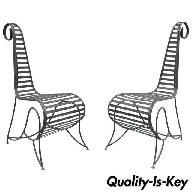 Vintage Whimsical Steel Iron Spine Lounge Chairs After André Dubreuil - A Pair For Sale - Image 10 of 10