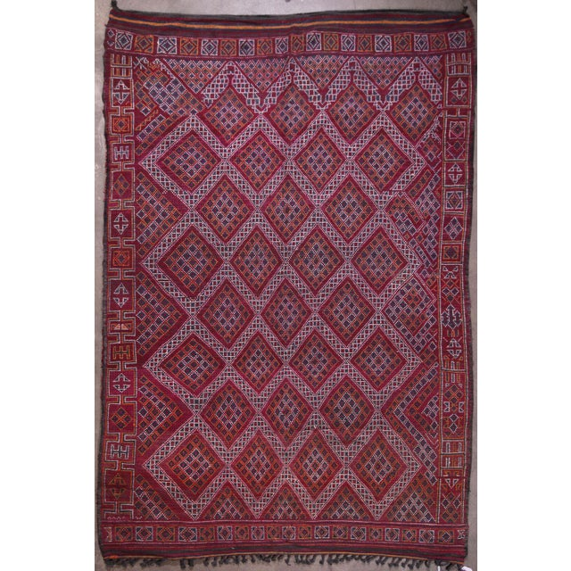 1960s Hand Knotted Reversible Geometric Moroccan Rug - 6' X10' For Sale - Image 5 of 5