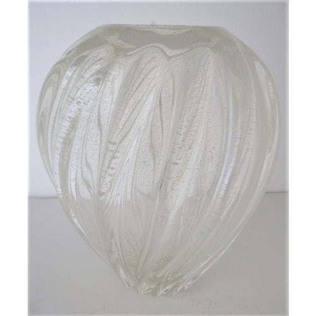 Vintage Murano Glass Vase With Silver Flecks For Sale In West Palm - Image 6 of 13
