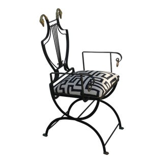1930s Samuel Copelon Lyre Back Neoclassical Swan Armchair