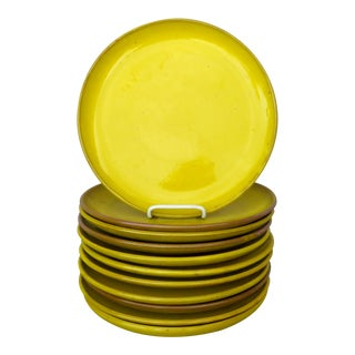 French Rustic Yellow Dinner Plates - Set of 11 For Sale