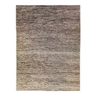 Modern Moroccan Style Brown Handmade Strie Pattern Wool Rug For Sale