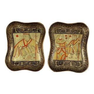 Mid-19th C. English Lacquer Papier-Mâché King & Queen Card Counter Trays - a Pair For Sale