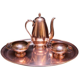 1920s Vintage French Copper Tea Set For Sale