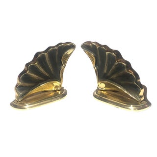 Sculptural Brass Wing Bookends - a Pair For Sale