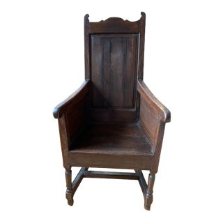 18th Century English Oak Panel Armchair For Sale