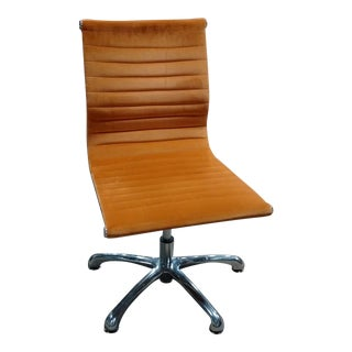 1980s Vintage Eames Style Burnt Orange Armless Chair For Sale