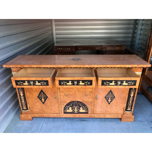 Neoclassical Biedermeier Style Empire Sideboard Credenza Cabinet by Francesco Molon For Sale - Image 3 of 12
