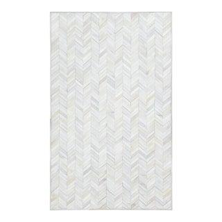 """Meir, Contemporary Ivory 8' 0"""" x 10' 0"""" Handmade Area Rug For Sale"""