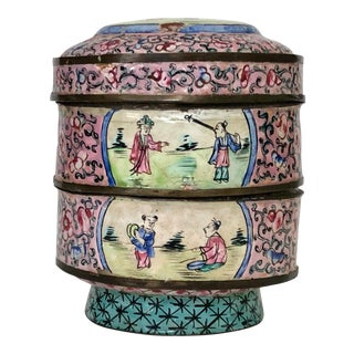 Antique Chinese Enamel Stacking Box For Sale