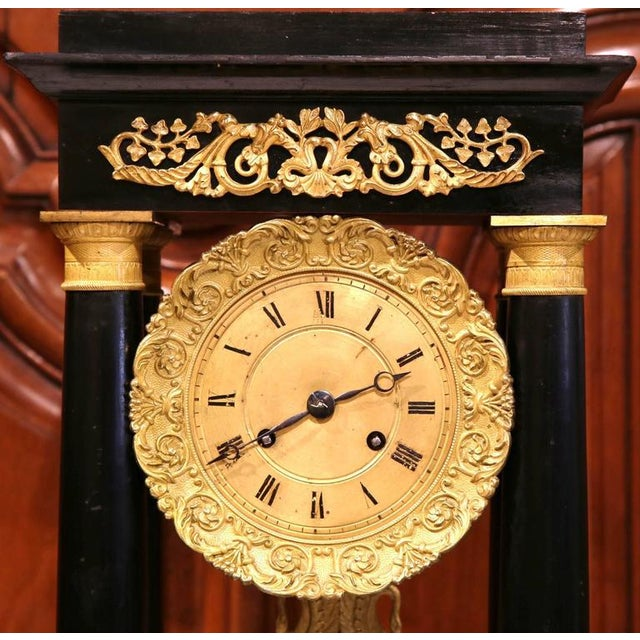19th Century French 4-Columns Empire Mantel Clock with Original Glass Dome For Sale - Image 5 of 9