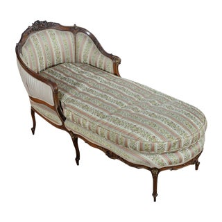 19th C. Louis XV Mahogany French Chaise Lounge