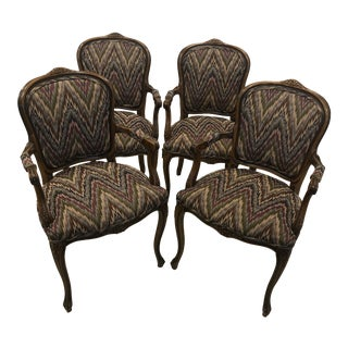 Country French Arm Chairs - Set of 4 For Sale