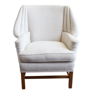 Creme Fabric Wingback Vintage Chair For Sale