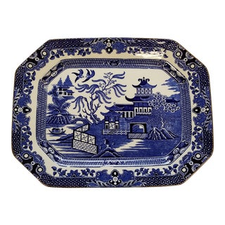 Antique English Burleigh Ware Blue Willow Platter For Sale