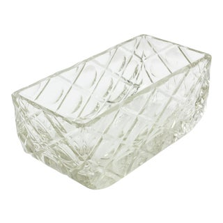 French Art Deco 1930s Large Crystal Centerpiece Bowl Vase For Sale
