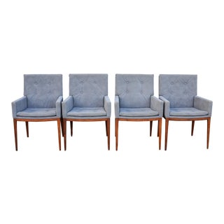 Mid-Century Modern Jules Heumann for Metropolitan Grey Suede Dining Chairs- Set of 4 For Sale