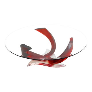 20th Century Contemporary Haziza Lucite and Glass Octopus Table For Sale