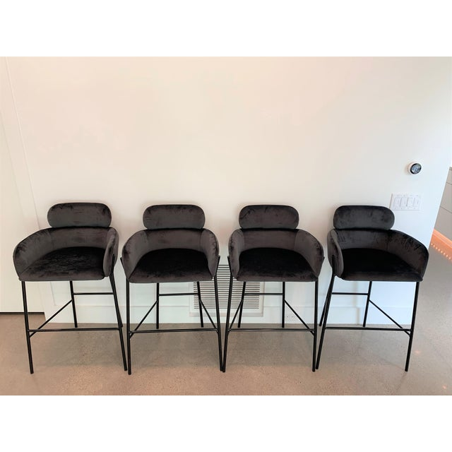 Contemporary Charcoal Velvet Bar Stools - Set of 4 For Sale - Image 10 of 10
