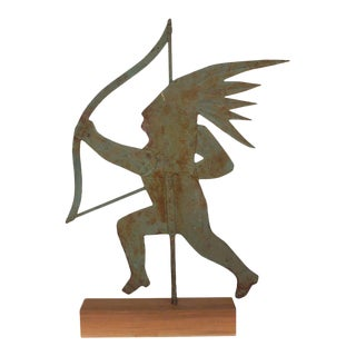 Early 20th Century Silhouette Indian Metal Weathervane For Sale