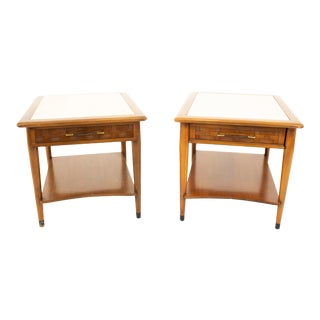 Lane Perception Mid Century Travetine Top Side End Tables - Pair For Sale