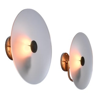 Frosted Glass and Brass Wall Lamps, Sweden, 1930s For Sale