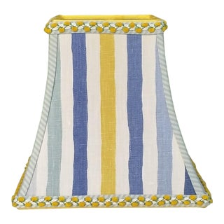 Blue Lemon Yellow Stripe Square Bell Clip on Floral Trim Lamp Shade For Sale