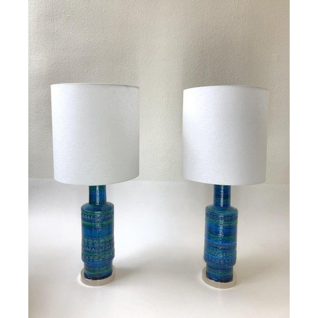 Metal Rare Pair of Rimini Blue Italian Ceramic and Nickel Table Lamps by Bitossi For Sale - Image 7 of 11