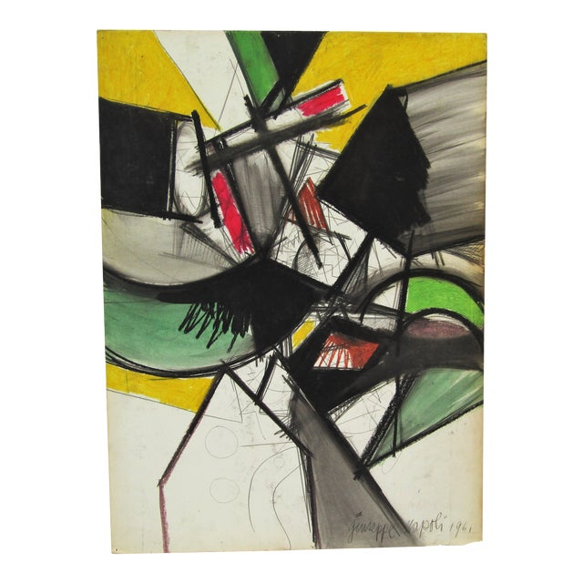 1961 Vintage Giuseppe Napoli Abstract Modern Painting For Sale